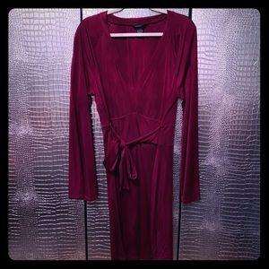 Raspberry Colored Long Sleeve V Neck Midi dress XL